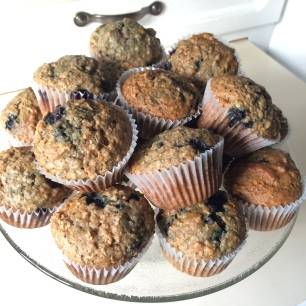 blueberry chia oat muffins